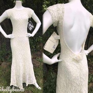 BETSEY JOHNSON VTG Wedding LACE Maxi Dress XS S